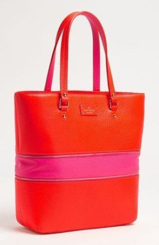 New Kate Spade Orange   Pink Leather Grove Court Michelle Tote Handbag Pink  Leather 41431fddd8677