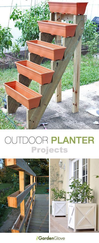 Outdoor Planter Ideas & Projects is part of Garden projects, Outdoor planters, Backyard garden, Backyard, Planter project, Garden design - Try these outdoor planter ideas to create one of a kind container gardens for your porch, deck or patio! Love how easy these DIY planters are to make!