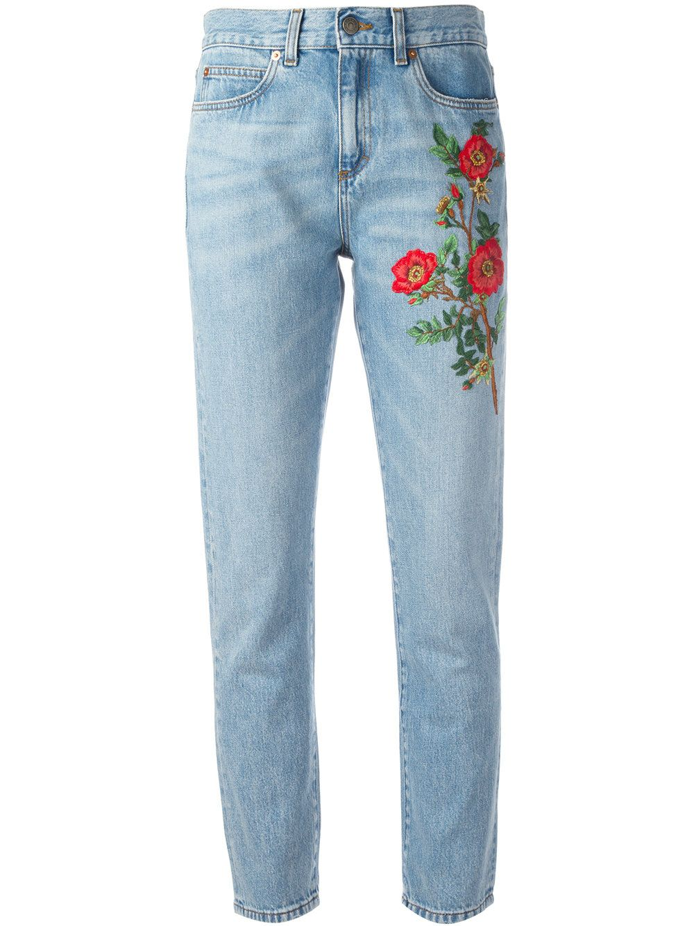 6fe22557fc2 Gucci embroidered flower jeans