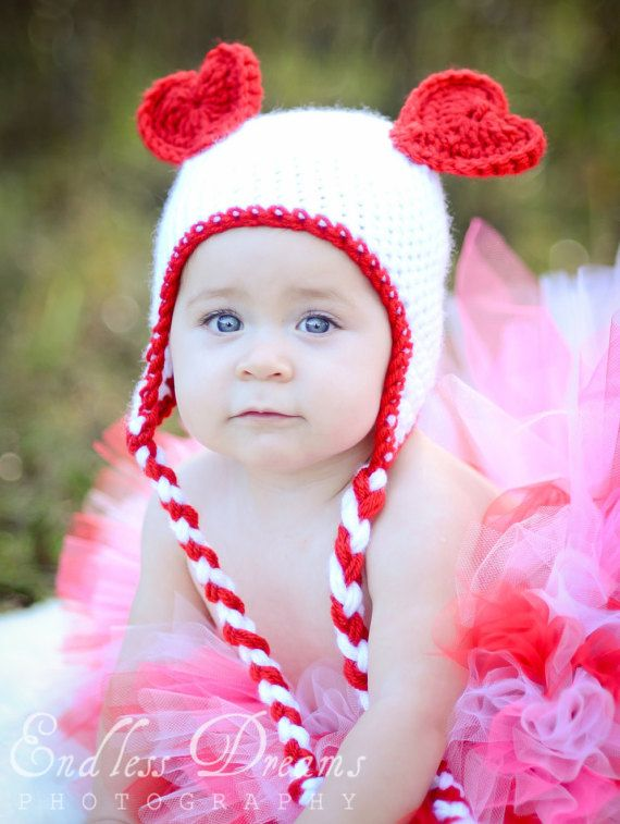 fb463b753d3 Baby Girl or Baby Boy Valentines Day Bear Heart Ears Hat with Braided Ear  Flaps- Crochet Heart Hat- Crochet Valentine Hat-Photo Prop