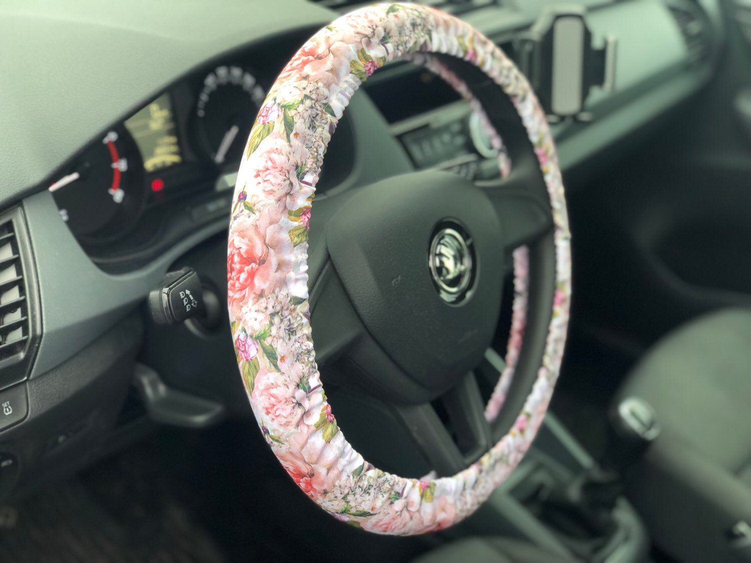 Peonies steering wheel cover. Light pink car accessory for woman  Pink car accessories, Car