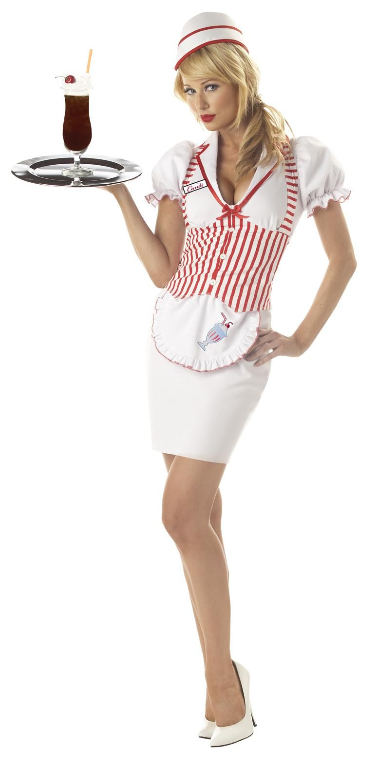 New 50u0026#39;s Soda Shop Sweetie Waitress Adult Costume | Soda and Costumes