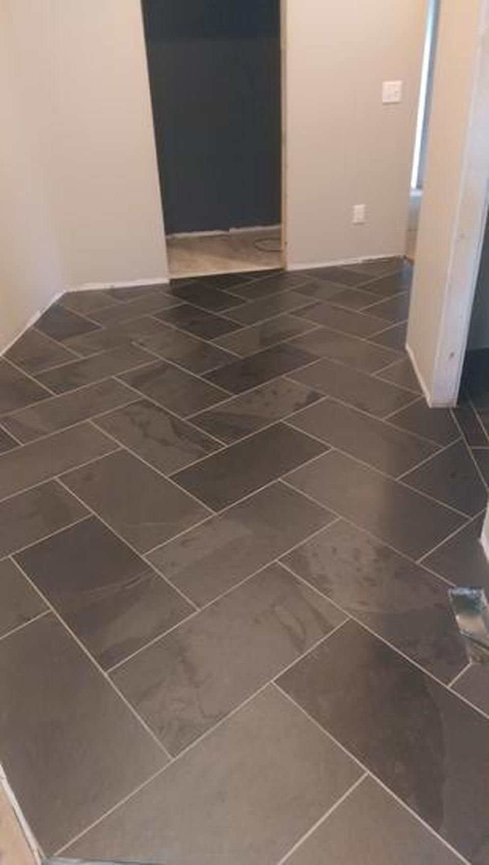 Brazilian Black 12x24 Set On Herringbone Pattern In 2020 Slate Flooring Flooring Trendy Kitchen Tile