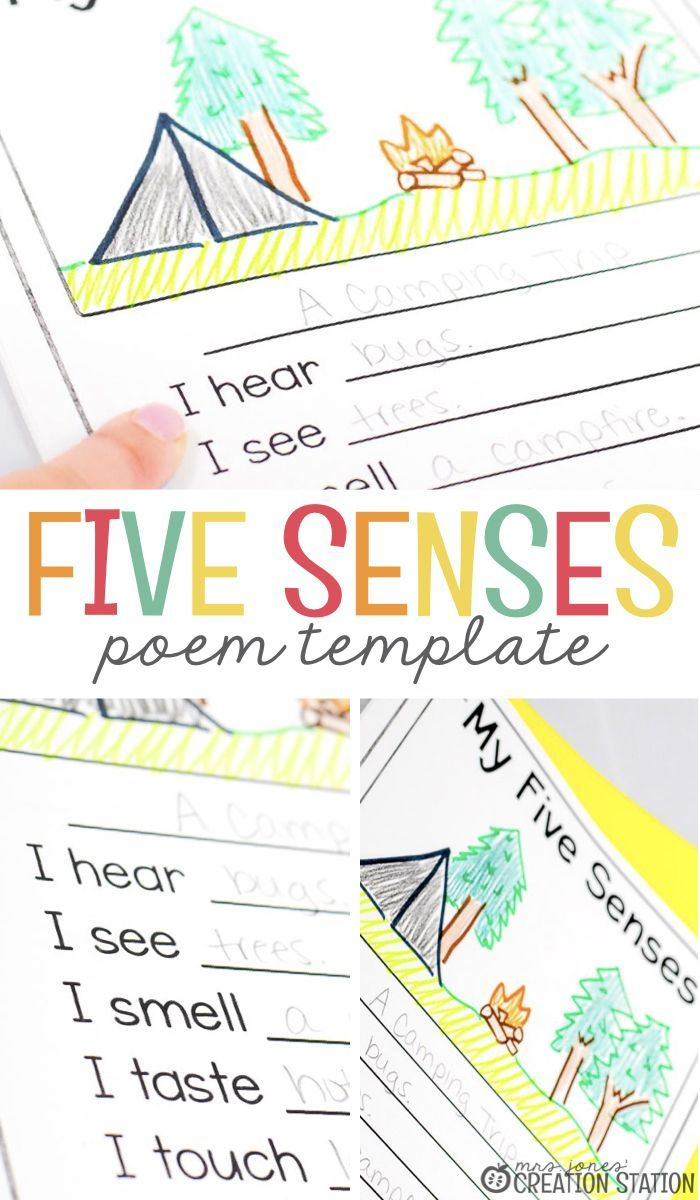 Five Senses Poetry Template  Many teachers avoid teaching poems to young students. However, there a