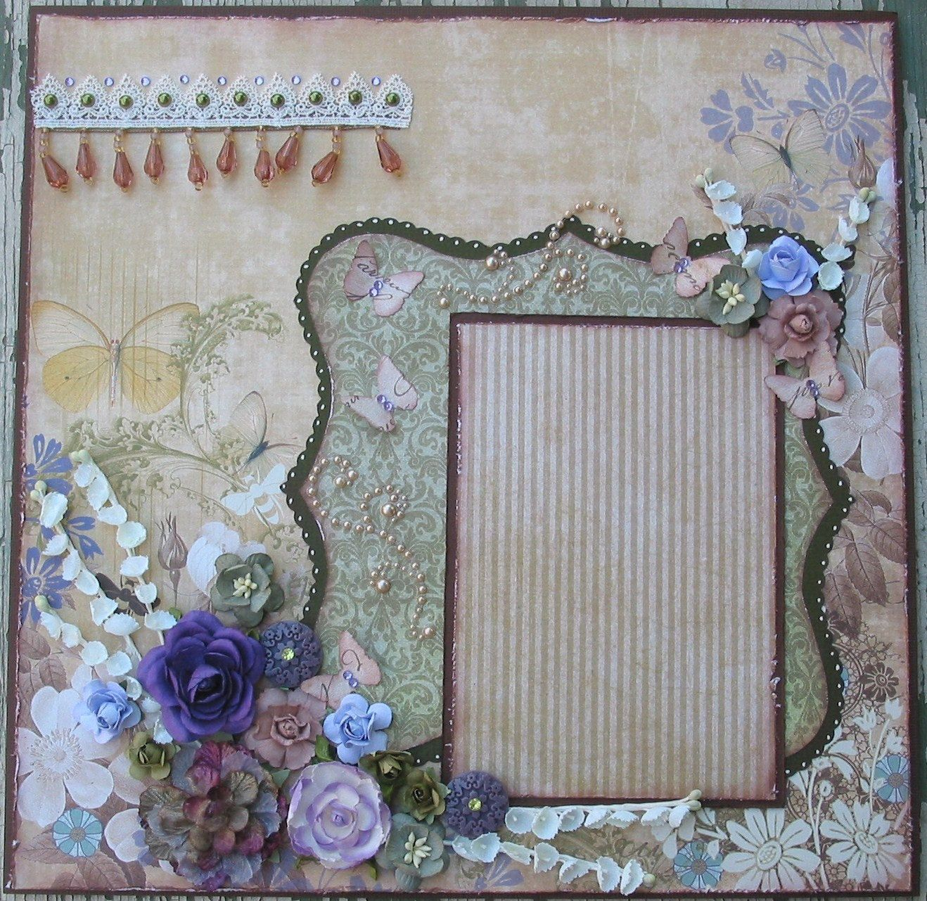 Shabby Chic Butterfly Premade 12x12 Layout Scrapbook Page ...