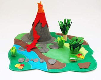 Jursassic Land Playmat Volcano Play Mat Dinosaur Land