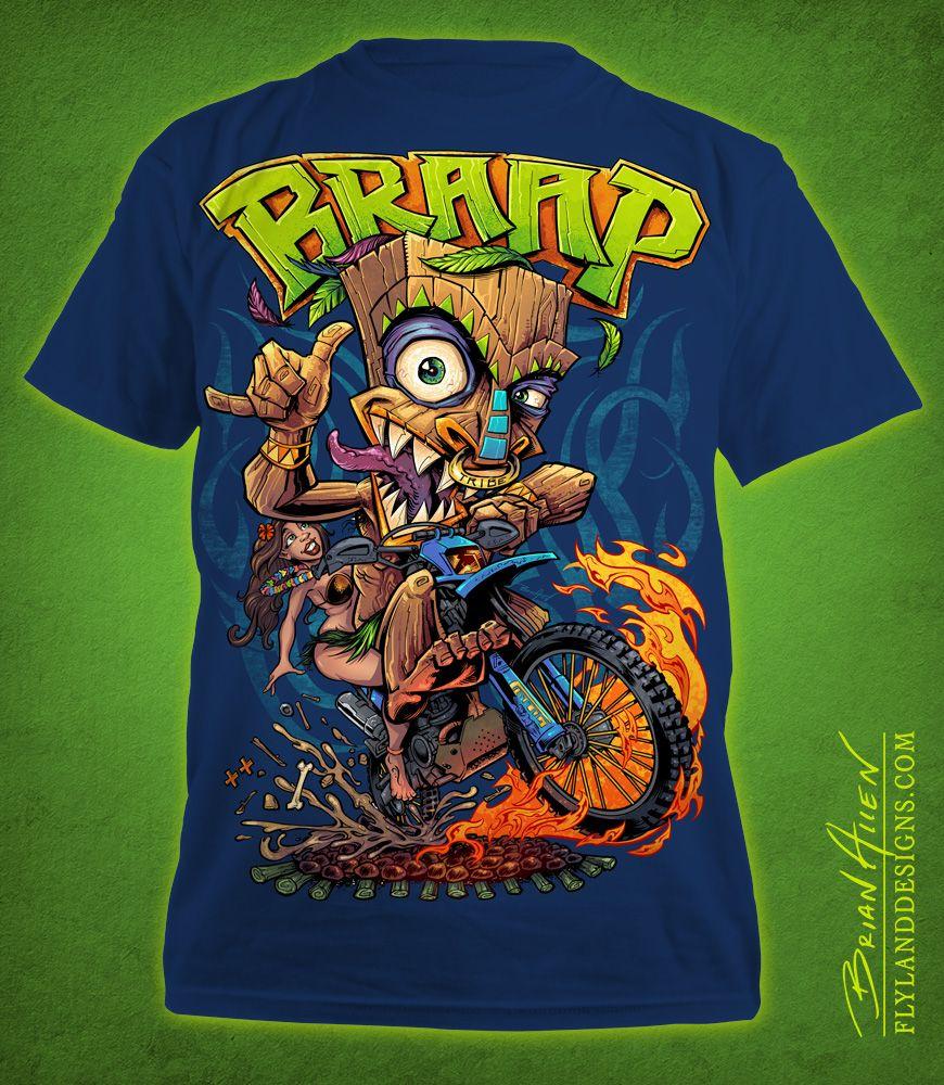Design t shirt on illustrator - Tiki Man Motocross Rider T Shirt Illustration