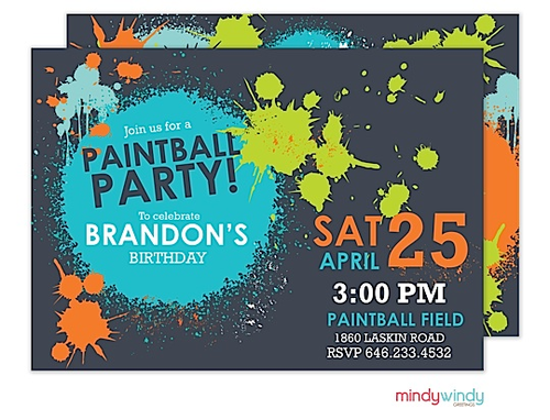 Paintball Party Invitation Zurianas Elegant Occasions