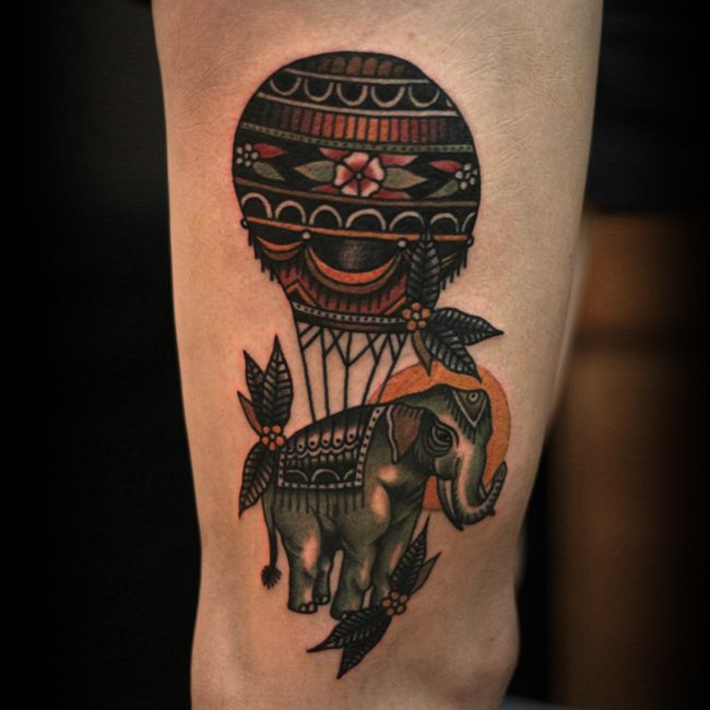 different take on hot air balloon tattoo