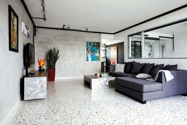 beautiful terrazzo flooring modern living room design