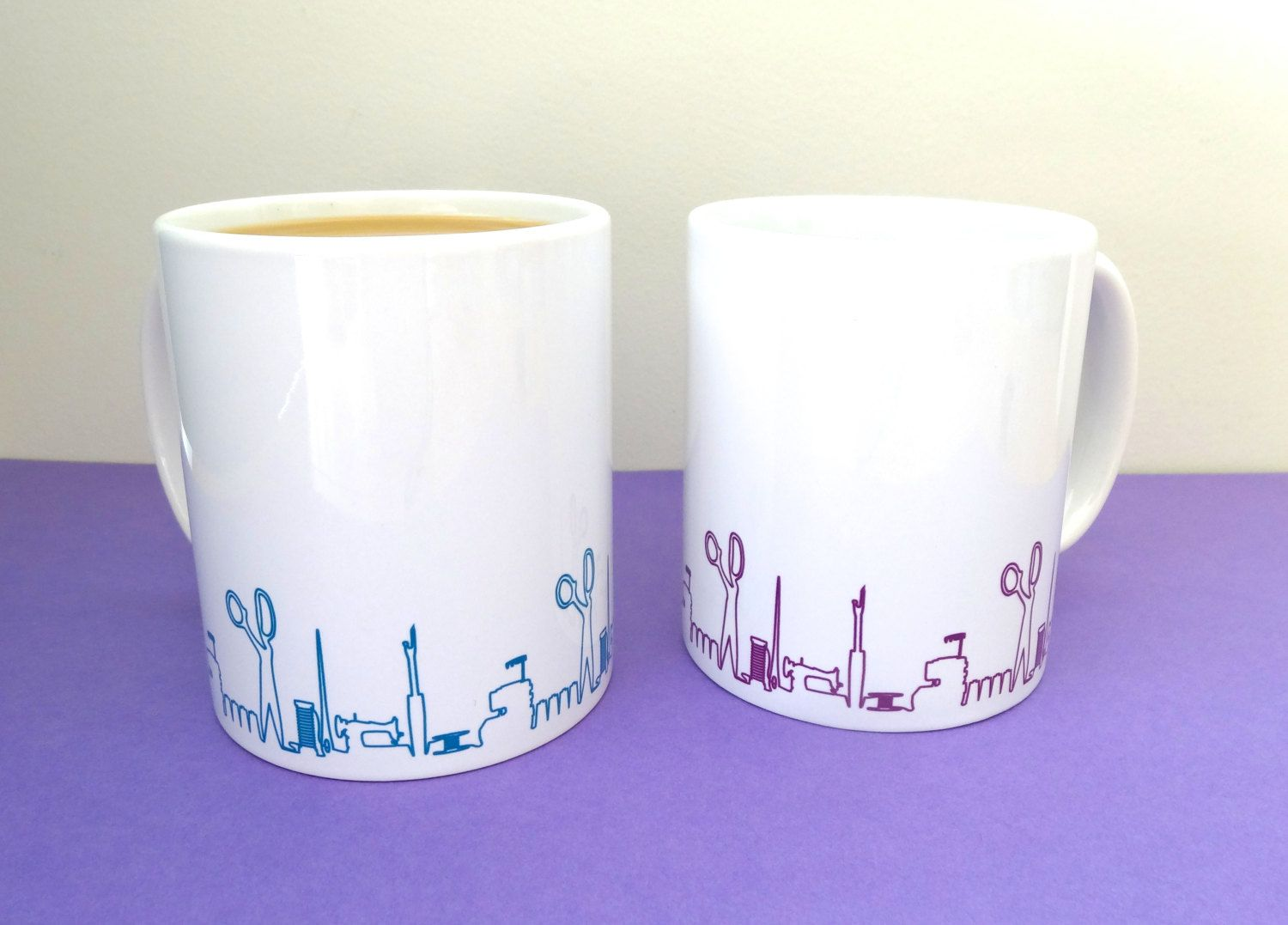 Sewing Skyline coffee mug Valentines day gift gift for seamstress unique crafty gift unusual gift August 13 2015 at 12:48AM