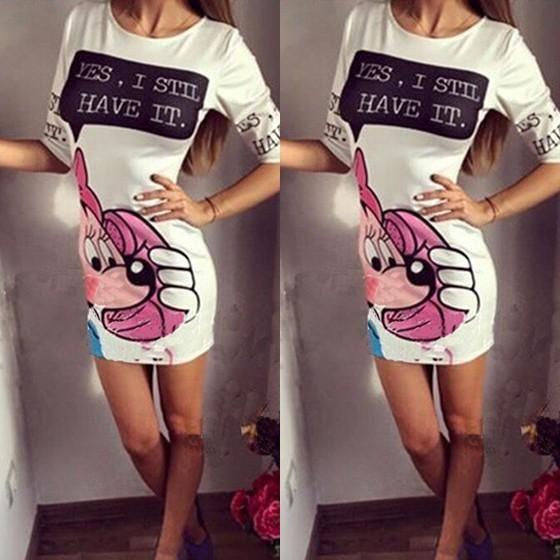 White Letter Mickey Print Long Sleeve Mini Dress
