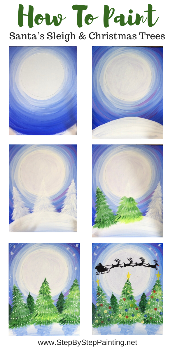 How To Paint Santa Sleigh In Sky - Step By Step Painting #painting