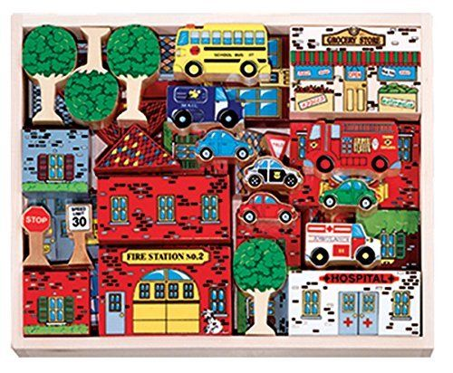 Preschoolers will enjoy constructing and arranging familiar landmarks in new and exciting ways. There are hundreds of stories just waiting to be told in this wooden mix-and-match town while your lit...