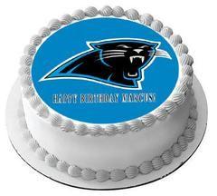 Carolina Panthers Edible Birthday Cake Topper OR Cupcake Topper Decor