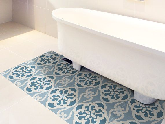 Floor Tile Decals Set Of 15 With Calm Blue Pattern Floor Decal