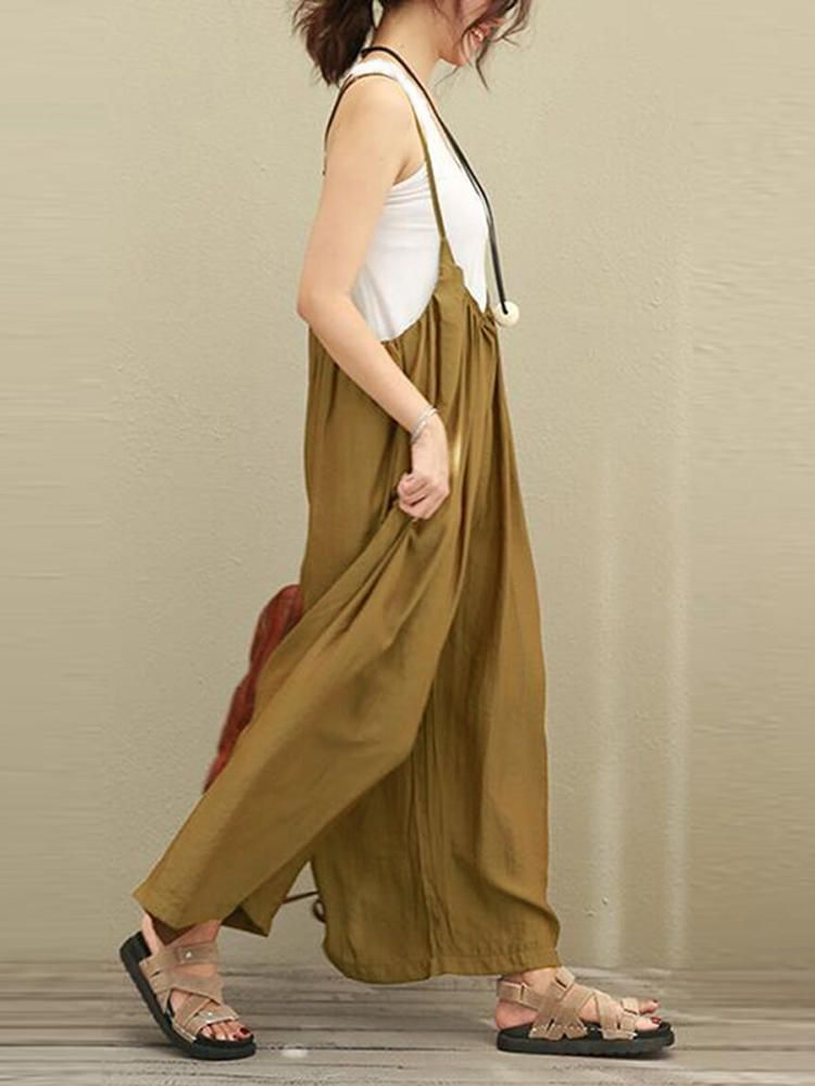 ea1df1d81562 S-5XL Women Casual Sleeveless Strap Baggy Wide Leg Pant Jumpsuit Rompers