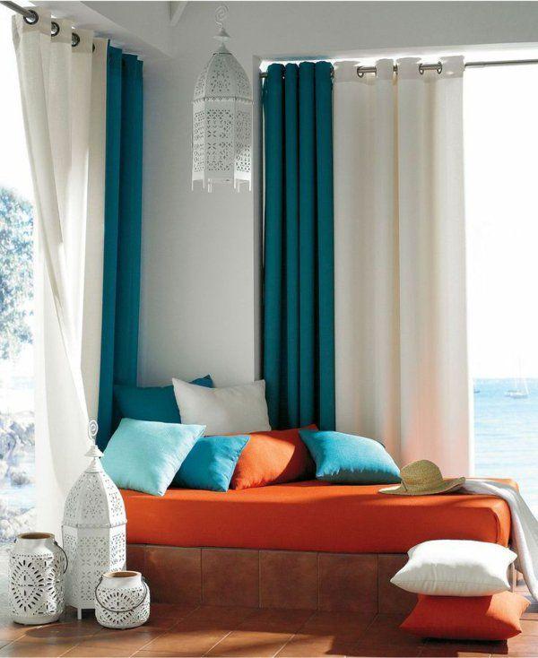 Entzuckend Gardinenideen Fenster Modern Designer Auflagen Orange