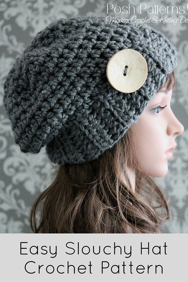 Crochet PATTERN - Crochet Button Slouchy Hat Pattern | Crochet ...