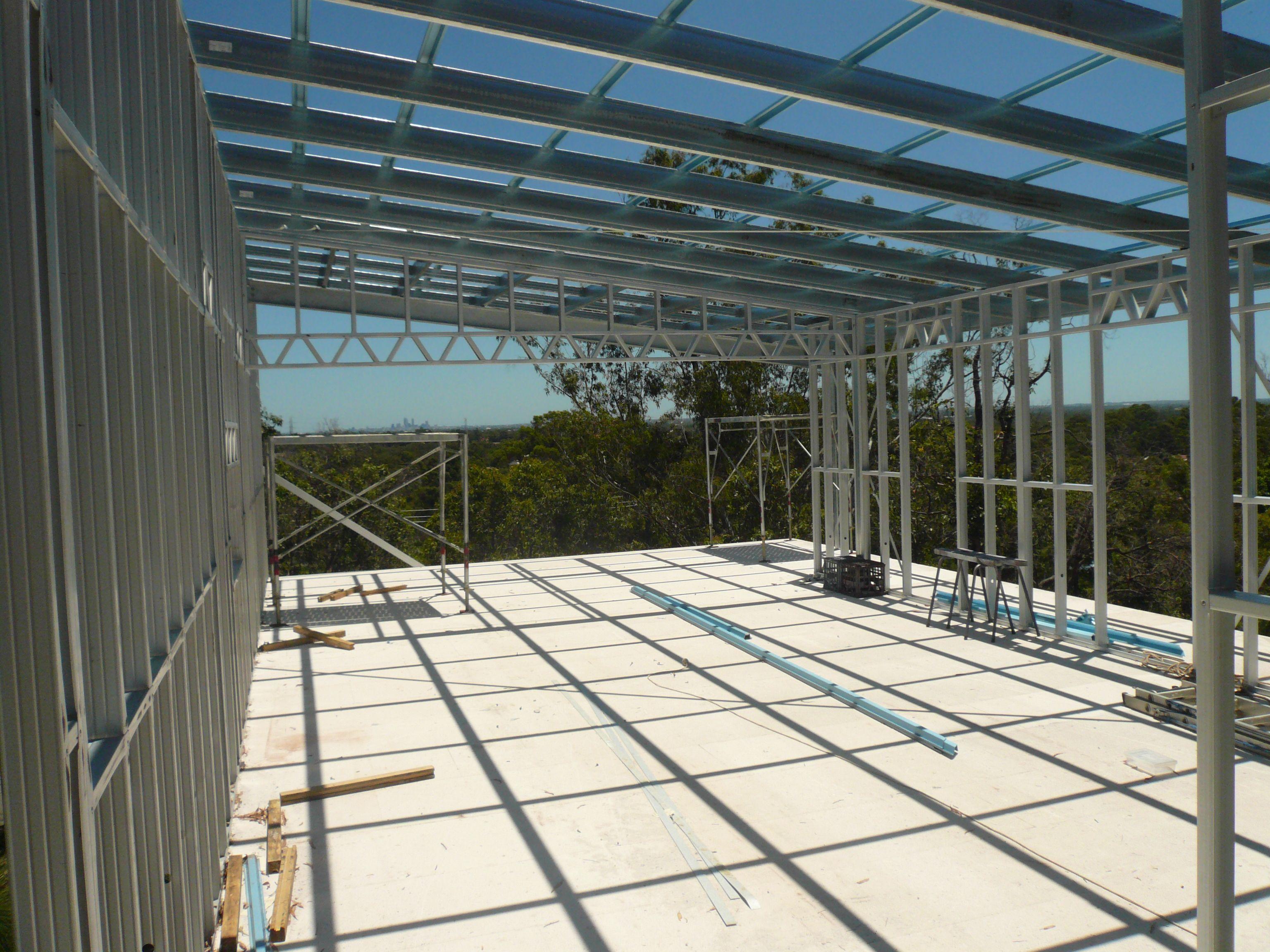 Skillion Steel Frame Roof Taking In The Natural Surroundings Roof Framing Steel Frame House Steel Frame