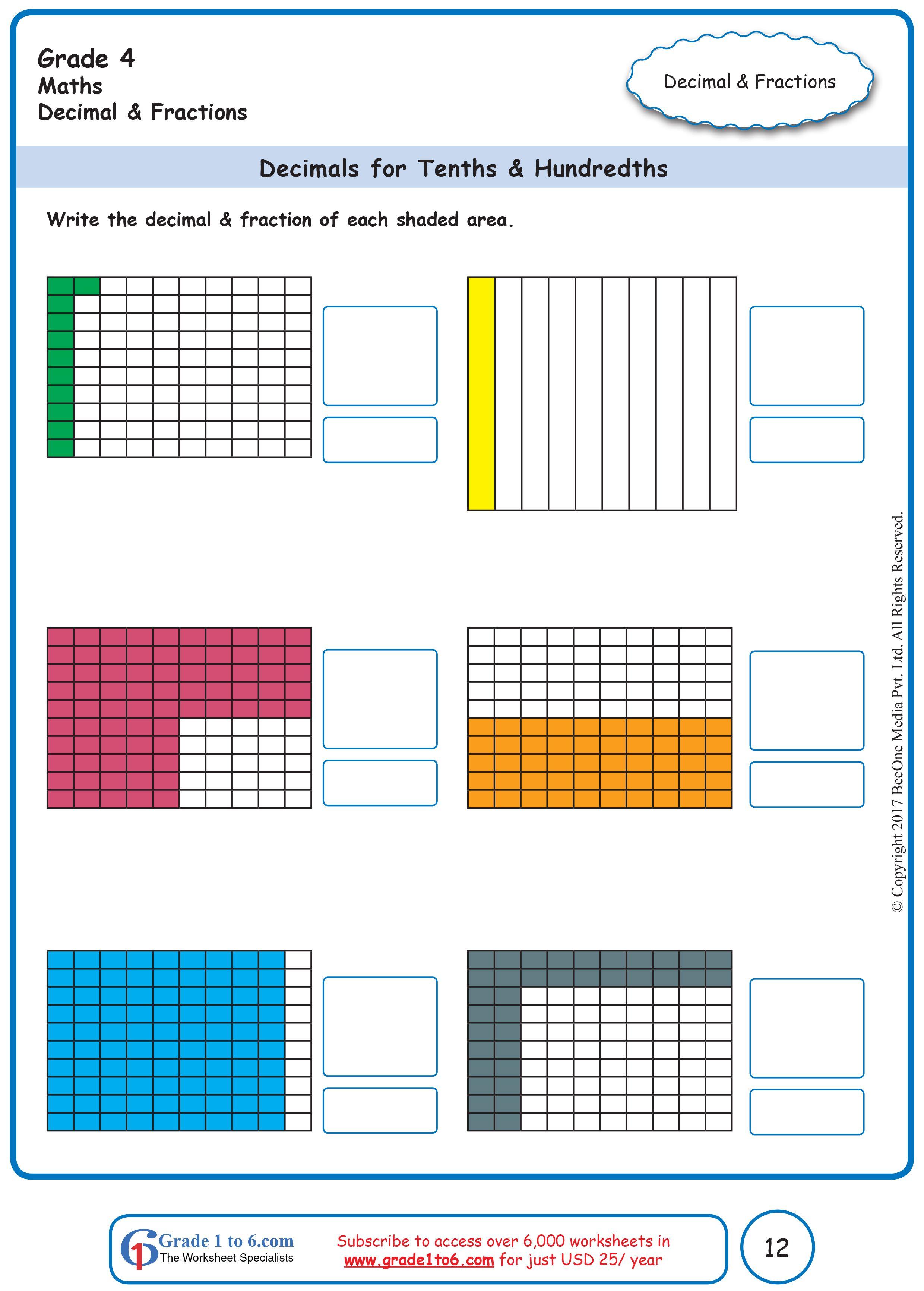 Decimals for Tenths \u0026 Hundredths   1st grade worksheets [ 3464 x 2480 Pixel ]