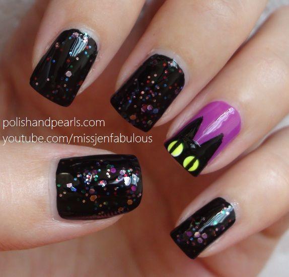 Black Cat Halloween - Polish and Pearls #nail #nails #nailart - Black Cat Halloween - Polish And Pearls #nail #nails #nailart