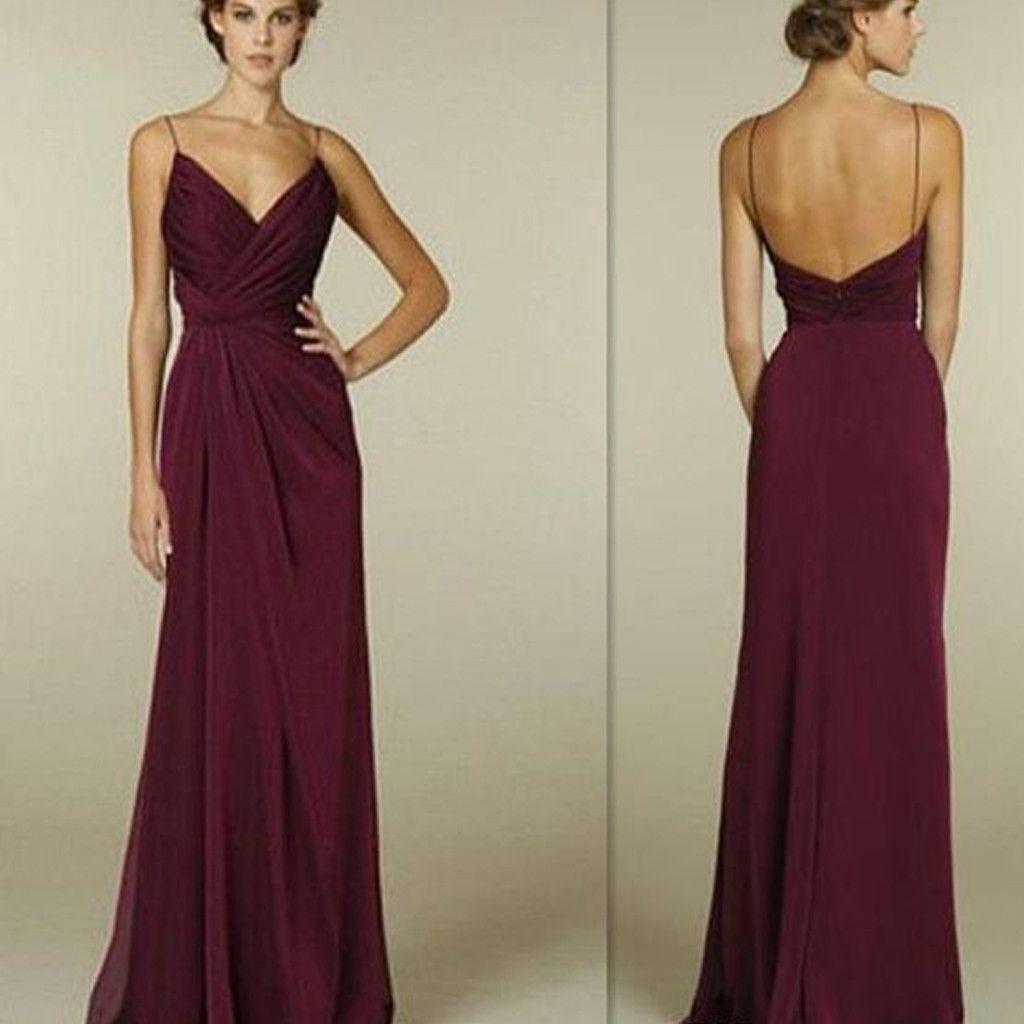 Maroon Spaghetti Straps V-neck Simple Open Back Long Formal Prom ...