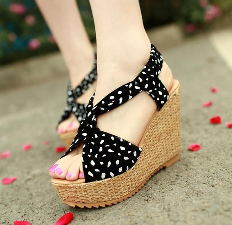 Fashion Cute Cloth Upper Wedge Heels Sandals for Summer | Shoes ...