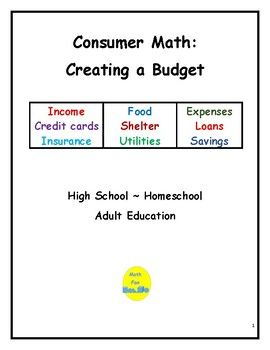 Consumer Math Creating A Budget Consumer Math High School