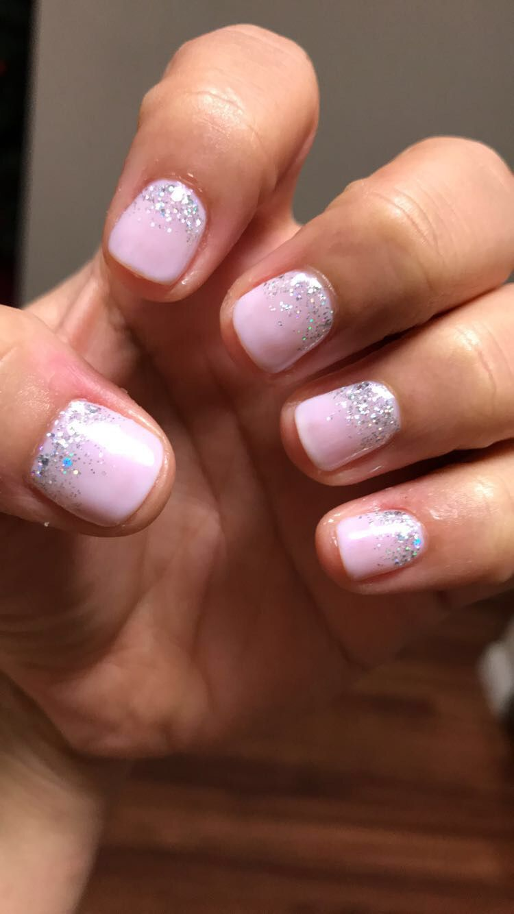 Light Pink With Silver Glitter Holidaynails Pink Toe Nails Glitter Toe Nails Pink Glitter Nails
