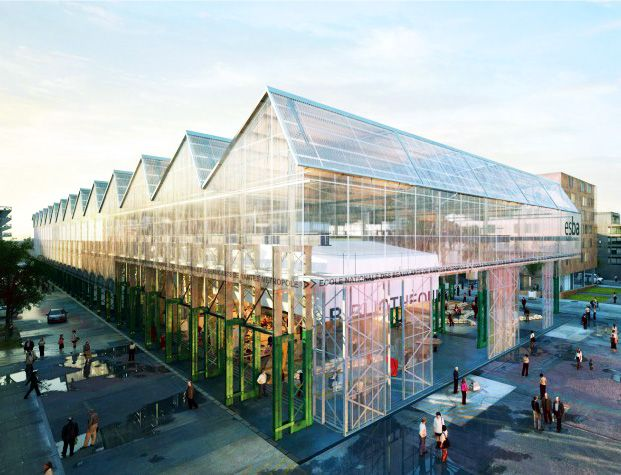 Giant zig zag glass canopy envelops new college of arts in for Architecture nantes