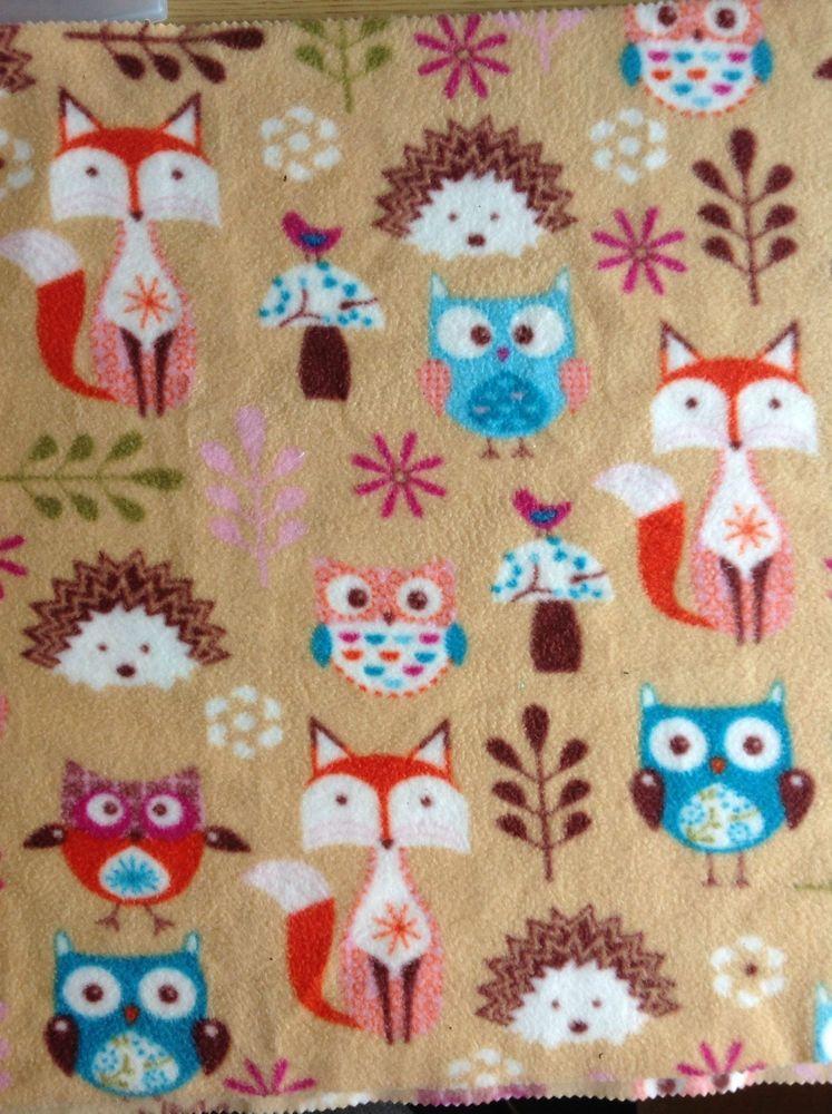 Woodland design fox owl hedgehog fleece fabric for Fox print fabric