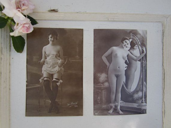 Pair French Nude Photos  Post Card  Early by CityandSeaVintage, $12.50