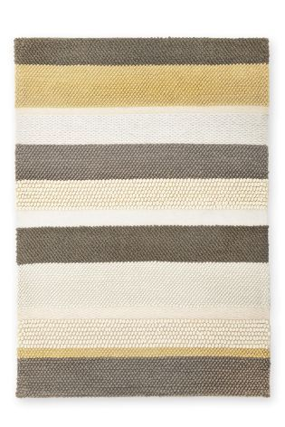 buy ochre and grey textured stripe rug from the next uk. Black Bedroom Furniture Sets. Home Design Ideas