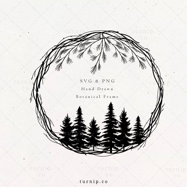 Christmas Wreath Svg Png Clipart Files Pine Tree Winter Etsy Christmas Wreaths Winter Monogram Monogram Border