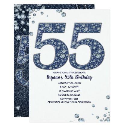 Denim Diamonds Bling Sparkle 55TH 55 Birthday Card