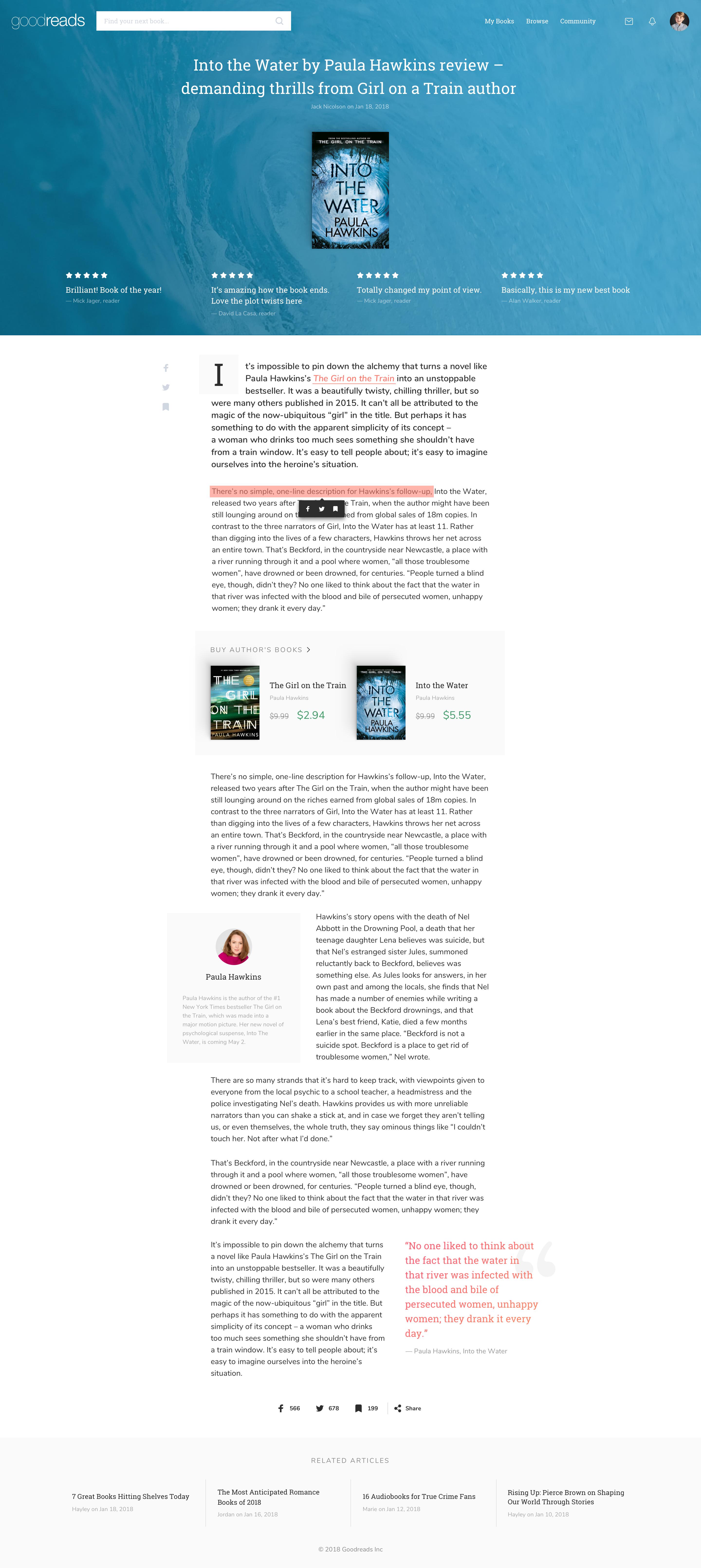 Goodreads article redesign Web design, Design