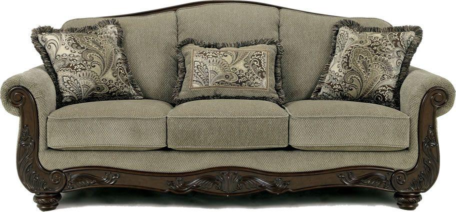 ashley furniture traditional sofa  Chicago Ashley Furniture Store for Grey  Traditional Fabric Sofa