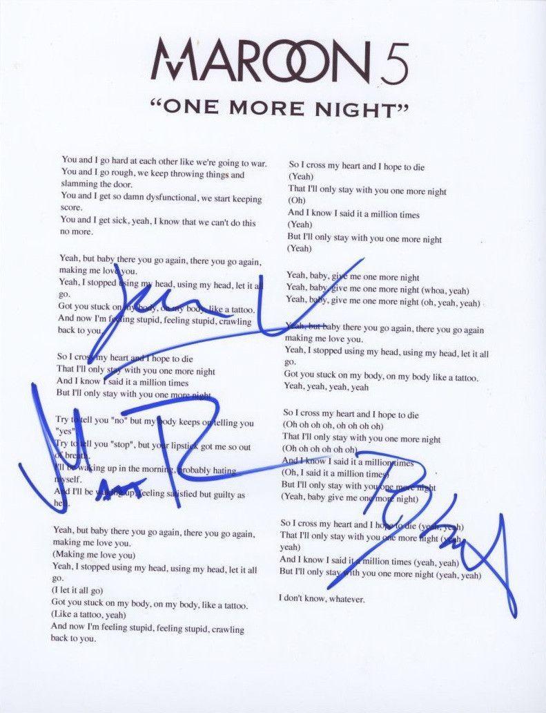 Maroon 5 Group Hand Signed Autographed Lyric Sheet Coa Maroon 5 Nights Lyrics One More Night