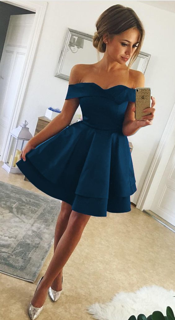Short Satin V-neck Off Shoulder Homecoming Dresses