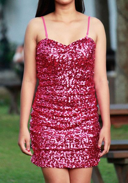 Hot Pink Sequin Slip Dress