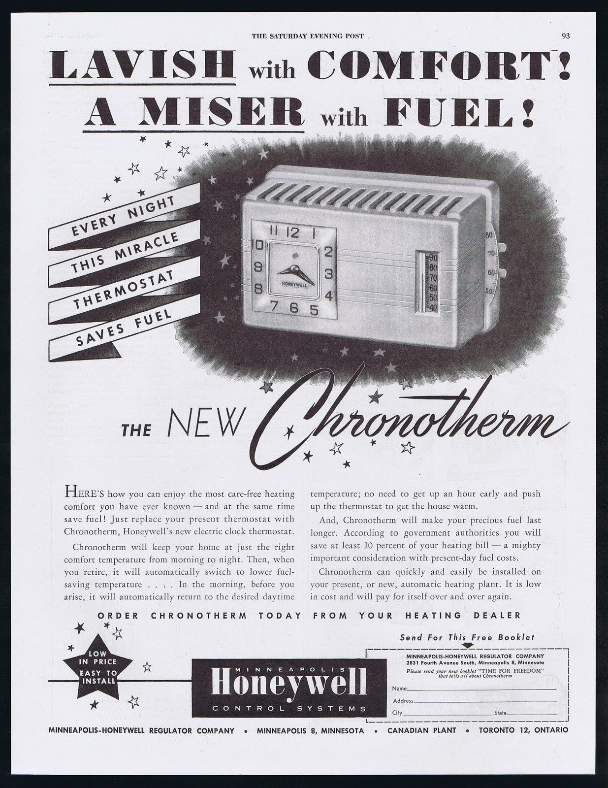 1947 Honeywell Chronotherm Electric Clock Thermostat