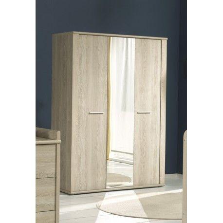Jolie armoire moderne à 3 portes ouvrantes avec miroir au centre - rail pour porte de placard