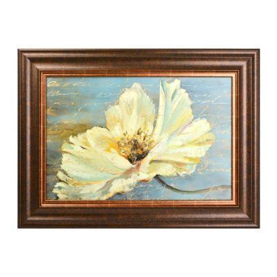 White Flower On Blue Framed Art Print | Blue framed art, Comfortable ...