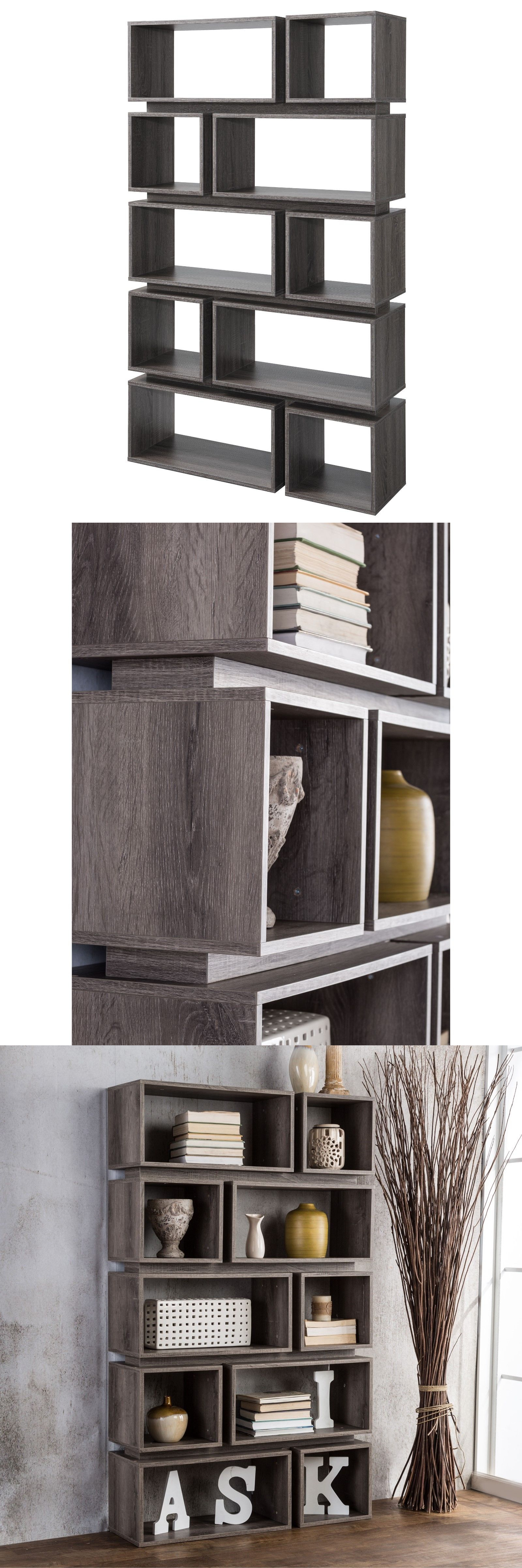 Bookcases rustic gray distressed bookcase stand modern