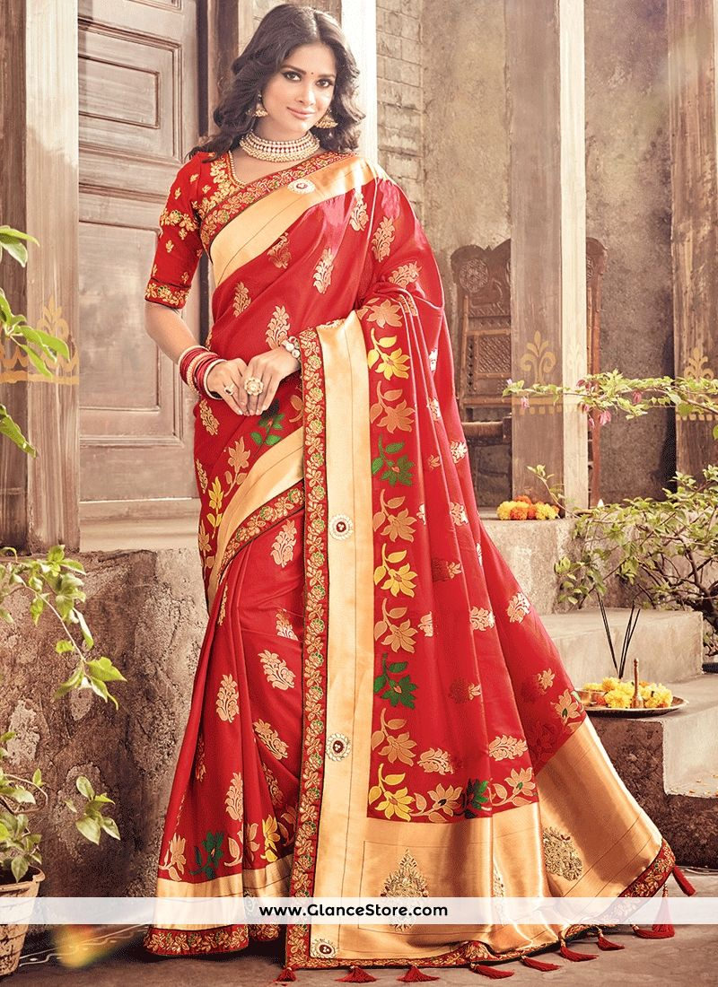 Prepossessing Red Traditional Designer Saree Elegant Saree Saree Designs Indian Designer Sarees