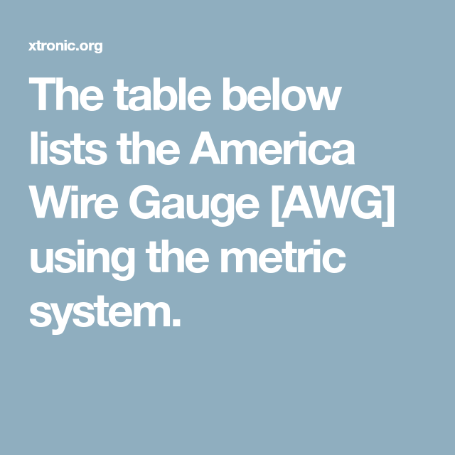 The table below lists the America Wire Gauge [AWG] using the metric ...