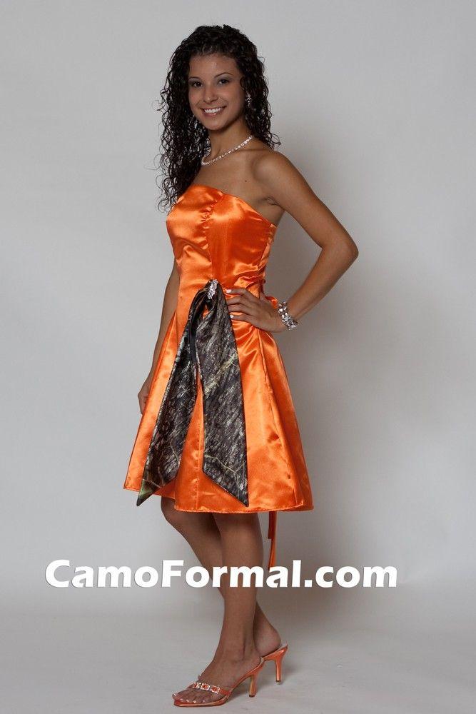 Long Orange Bridesmaid Dresses with camo sash | ... in Hunter's ...