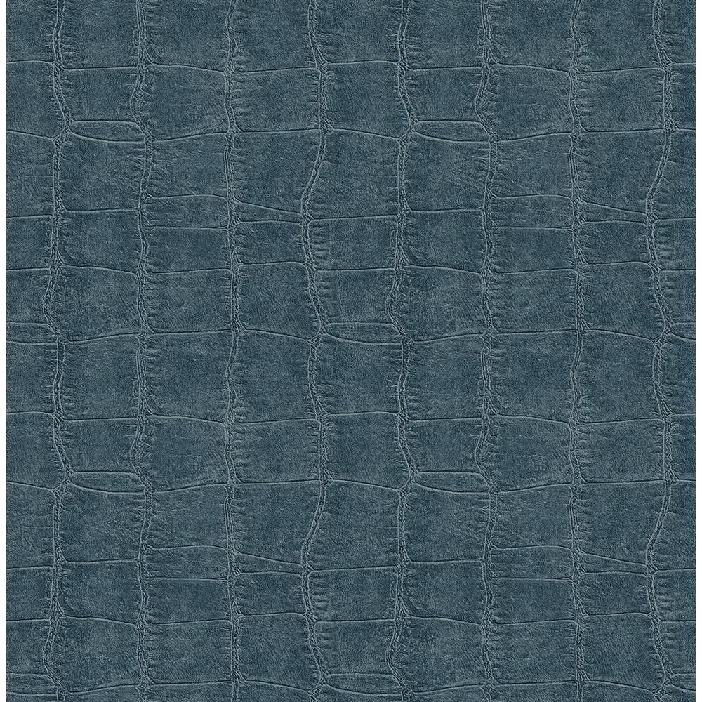 Chesapeake Logan Blue Croc Texture Wallpaper Sample