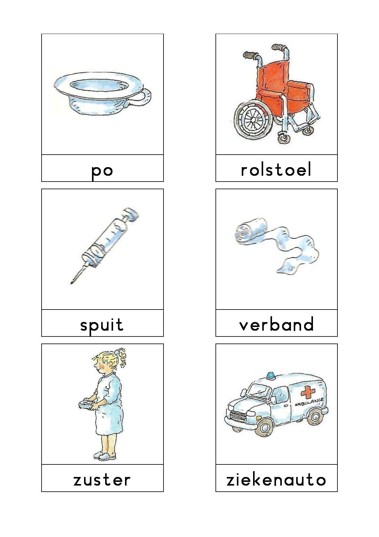Woordkaarten Bas Het Ziekenhuis 2 Knutselen Thema Ziek Zijn Thema Lesideeen